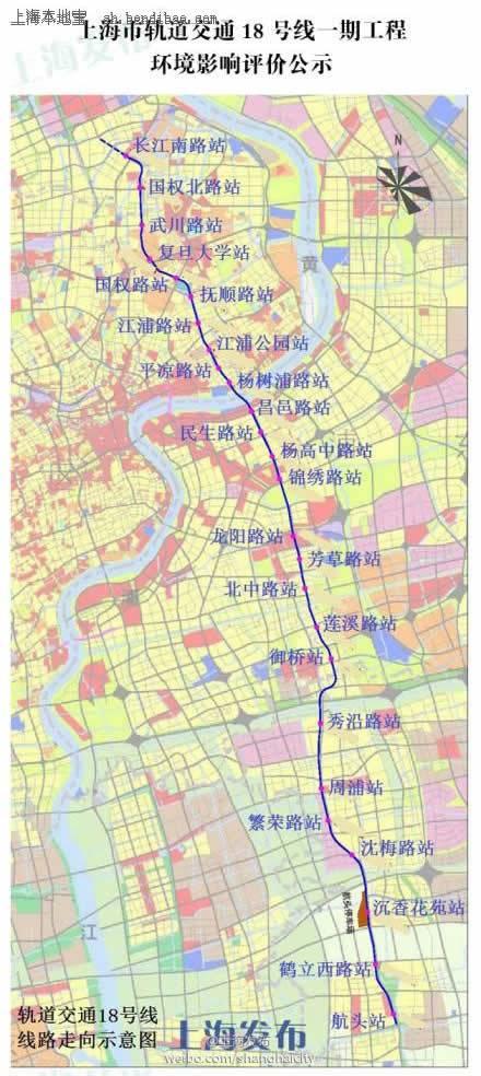 上海地铁18号线线路图及站点设置图片