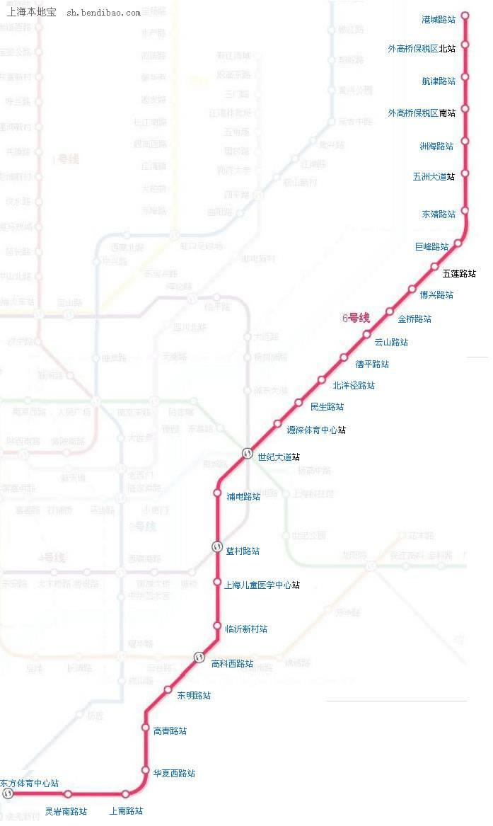 上海地铁6号线线路图图片