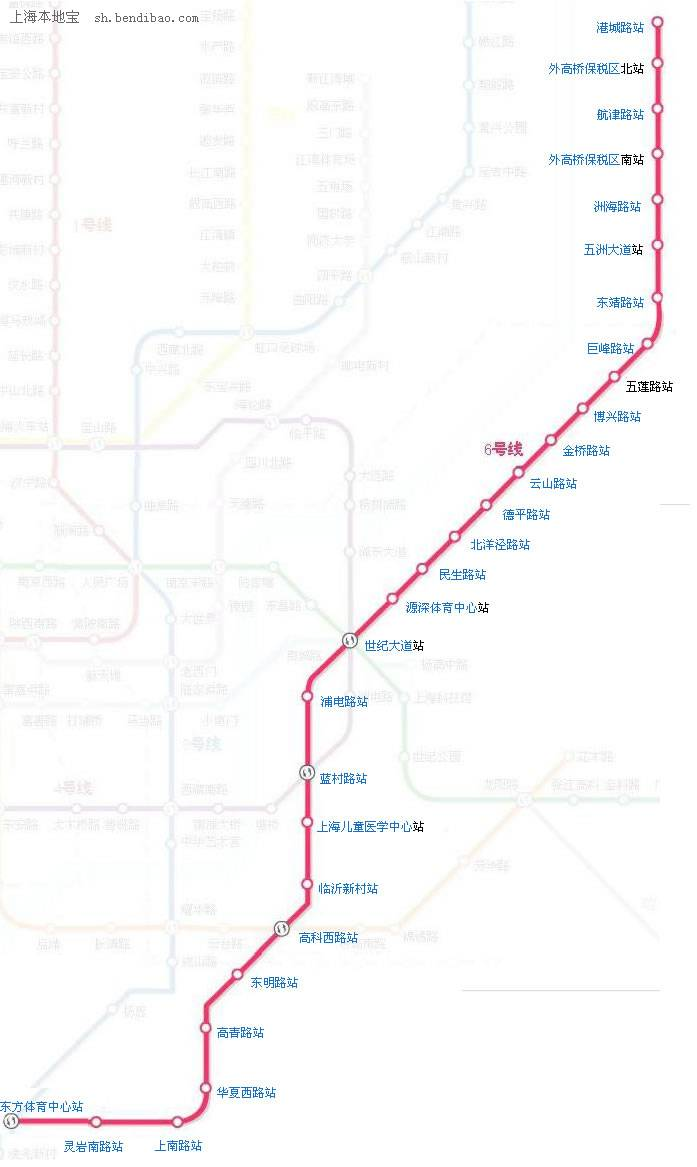 上海地铁6号线最新线路图一览图片