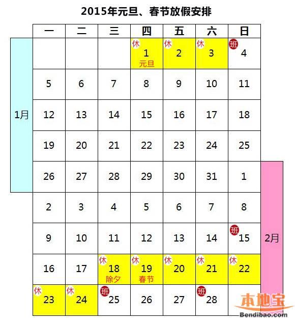 2015年春节放假安排时间表日历图图片