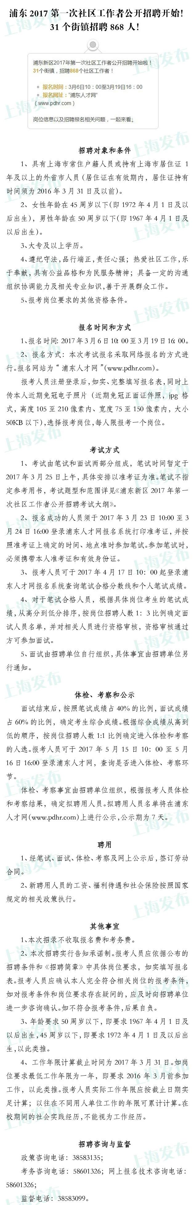 上海浦东新区31个街镇招聘868名社区工作者 报名启动
