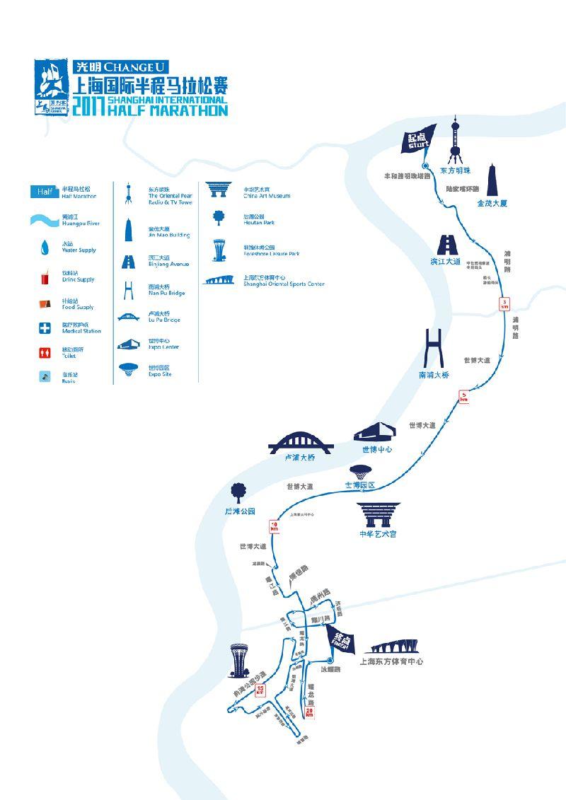 2017上海国际半程马拉松赛事路线图