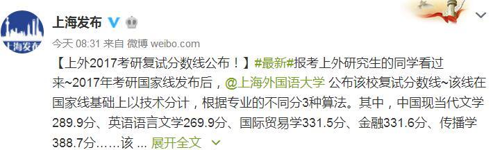 2017上海外国语大学考研复试分数线公布