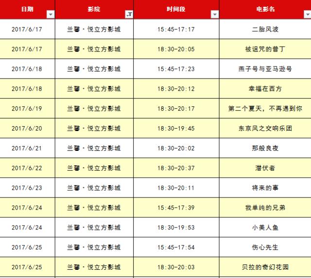 2017第20届上海国际电影节排片表(可下载)
