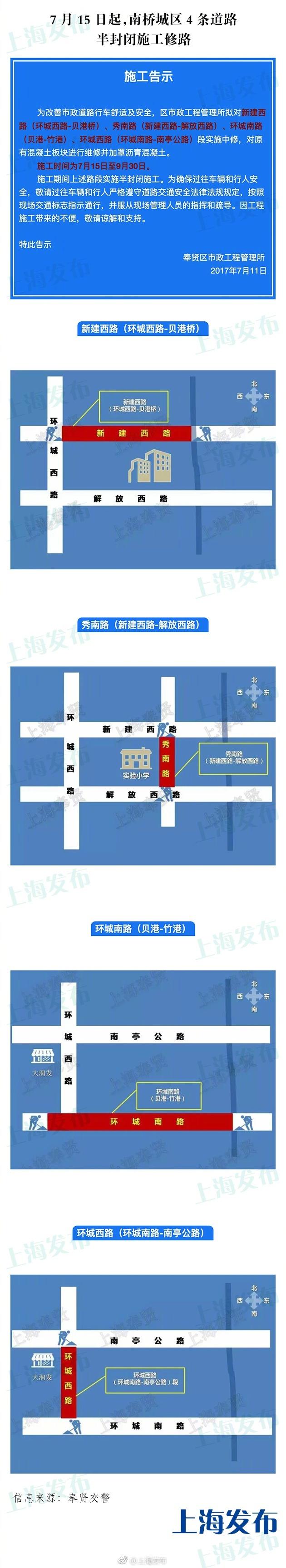 出行提醒:奉贤南桥城区4条道路15日起半封闭施工