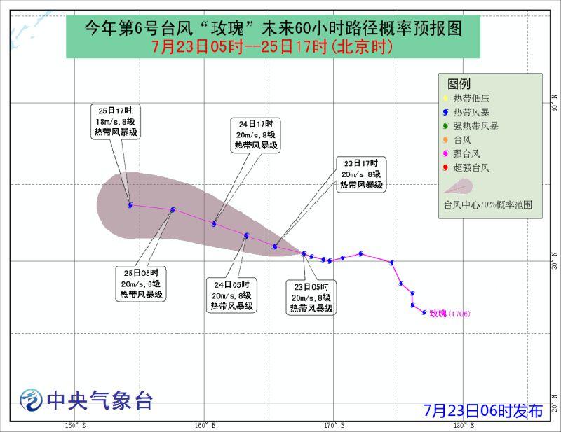 2017年第6号台风玫瑰实时路径图一览图片