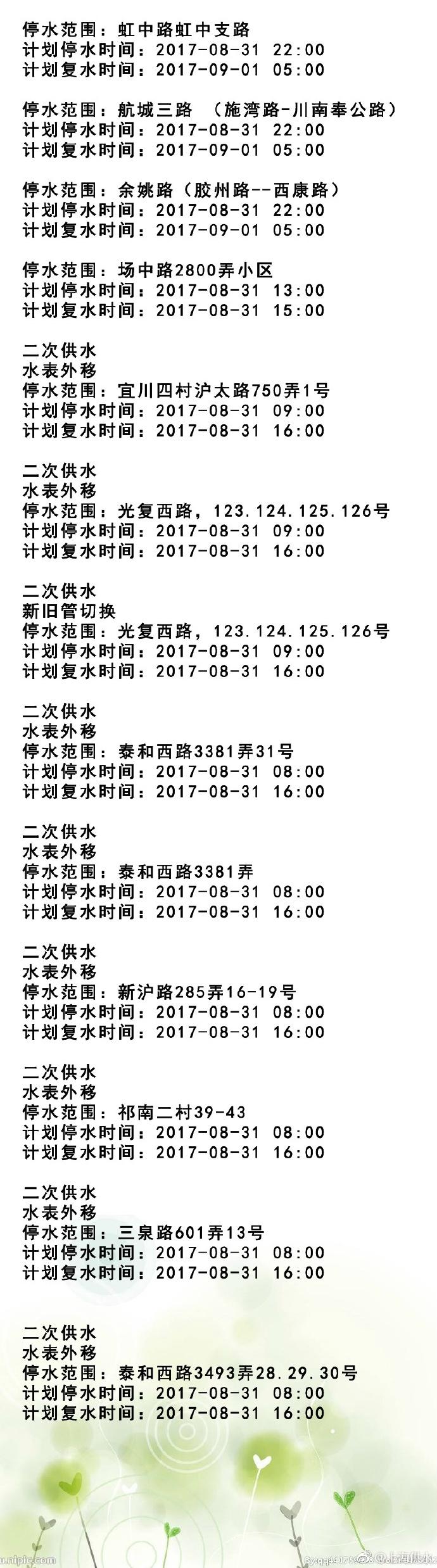 2017年8月31日上海停水通知及停水路段查询