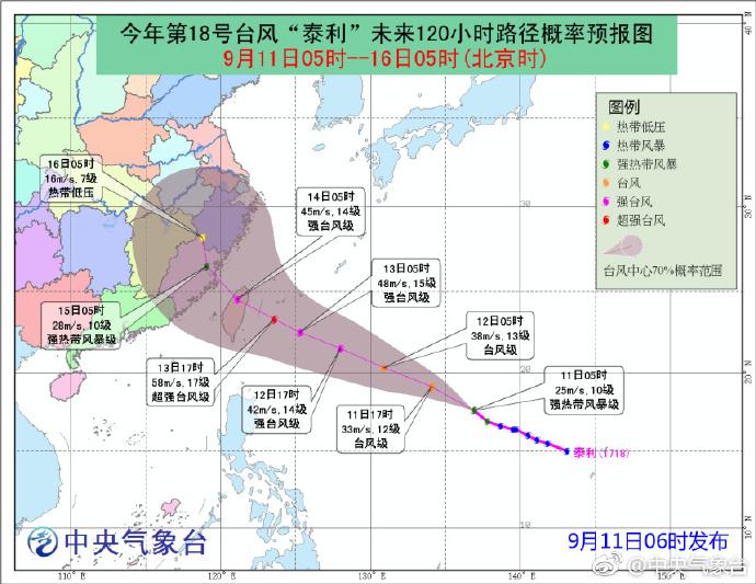 2017年第18号台风泰利最新消息(实时更新)