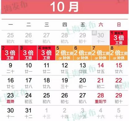 2017国庆(中秋)加班工资怎么算 上海至少拿2千