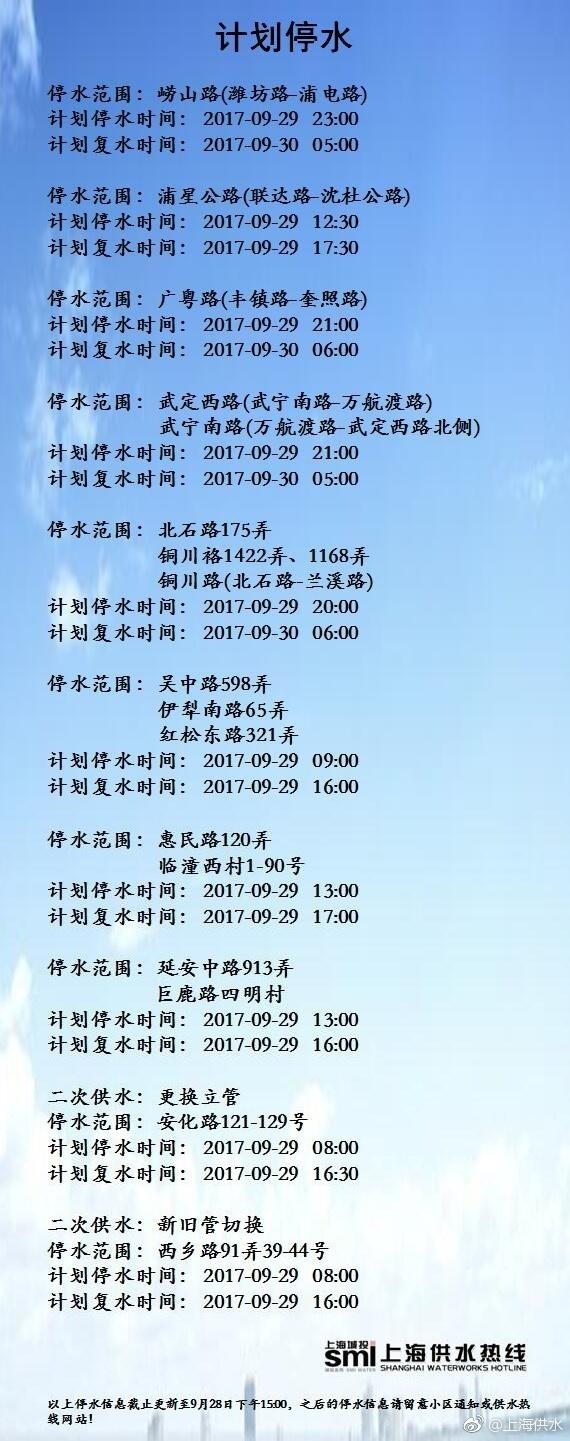 2017年9月29日上海停水通知及停水路段查询