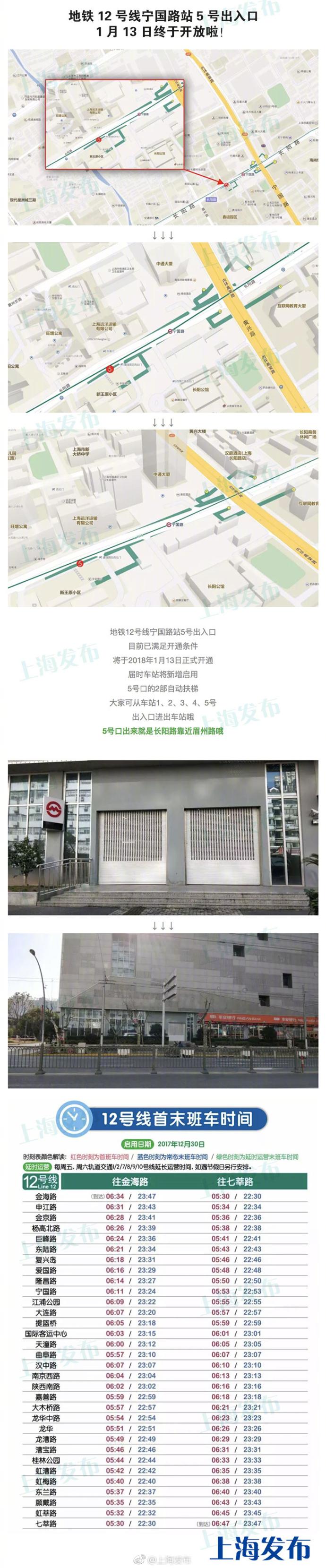 上海地铁12号线宁国路站5号出入口开放 市民出行不用在绕路