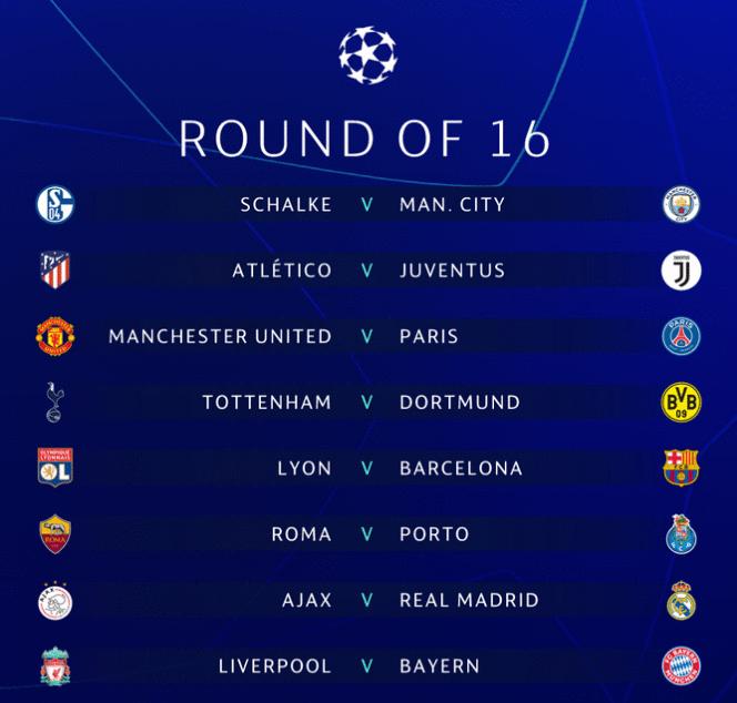 2019欧冠淘汰赛抽签结果公布