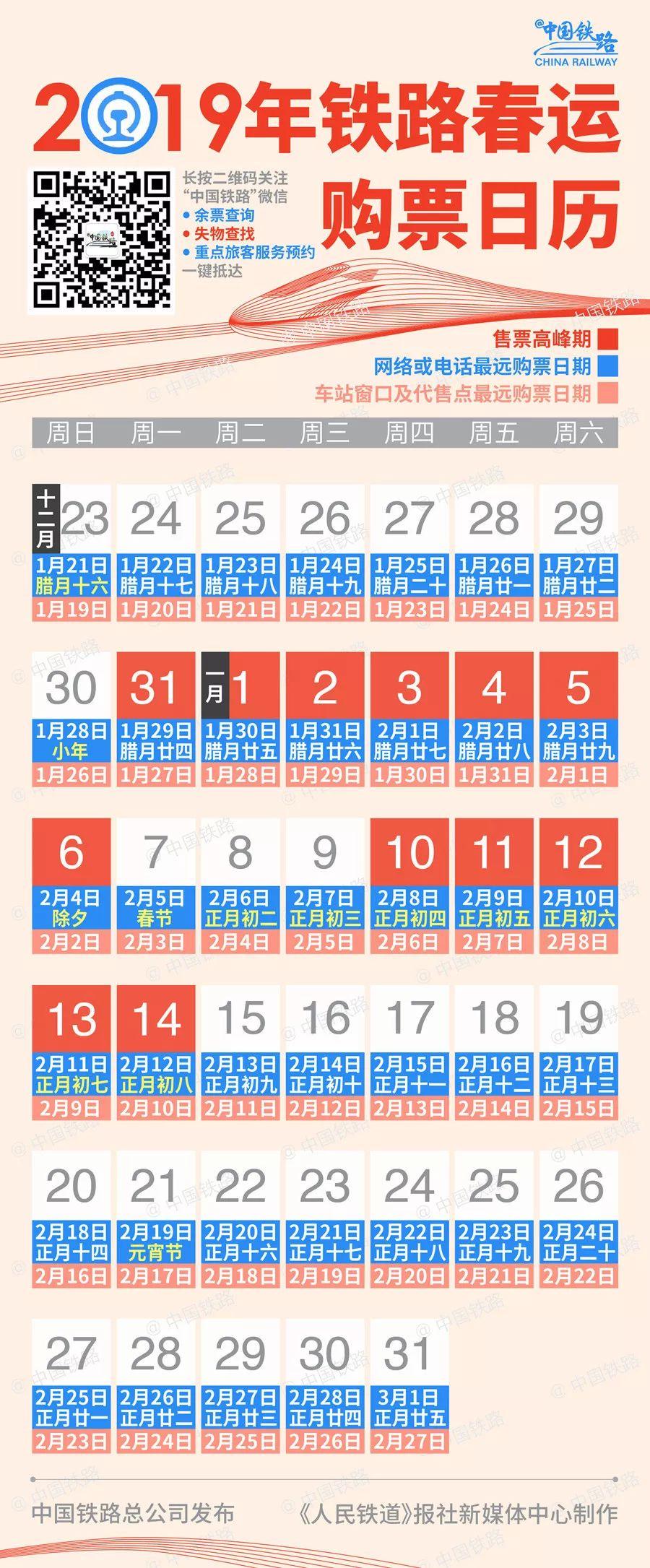2019铁路春运购票日历正式公布 记得收藏好