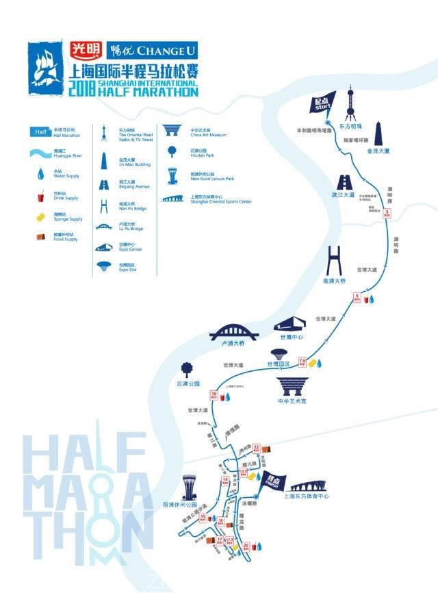 2018上海国际半程马拉松比赛路线图 图图片