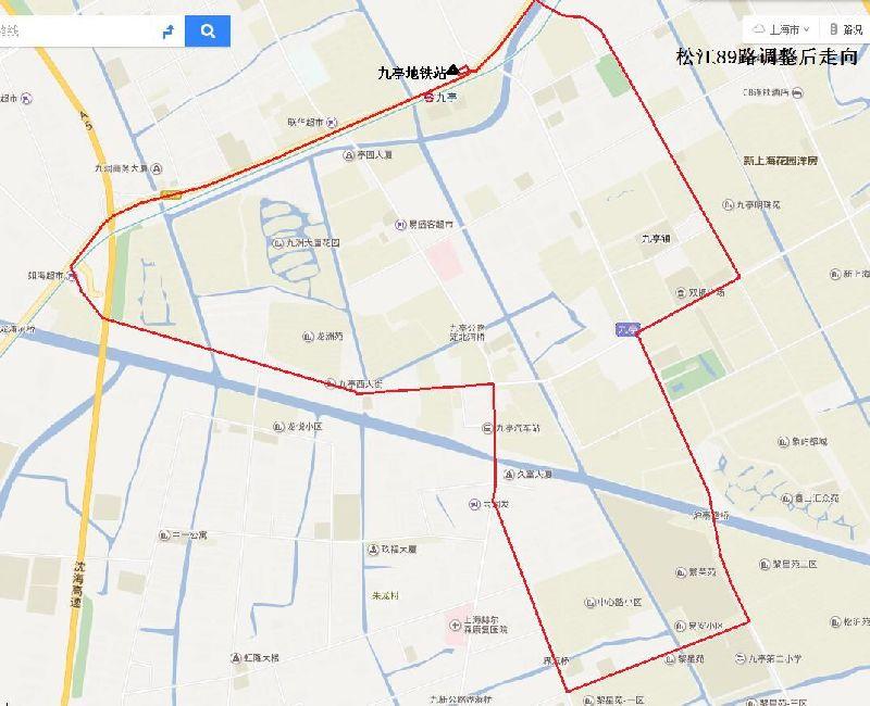 6月7日起松江九亭蒲汇路封闭施工 3条公交线路绕道通行