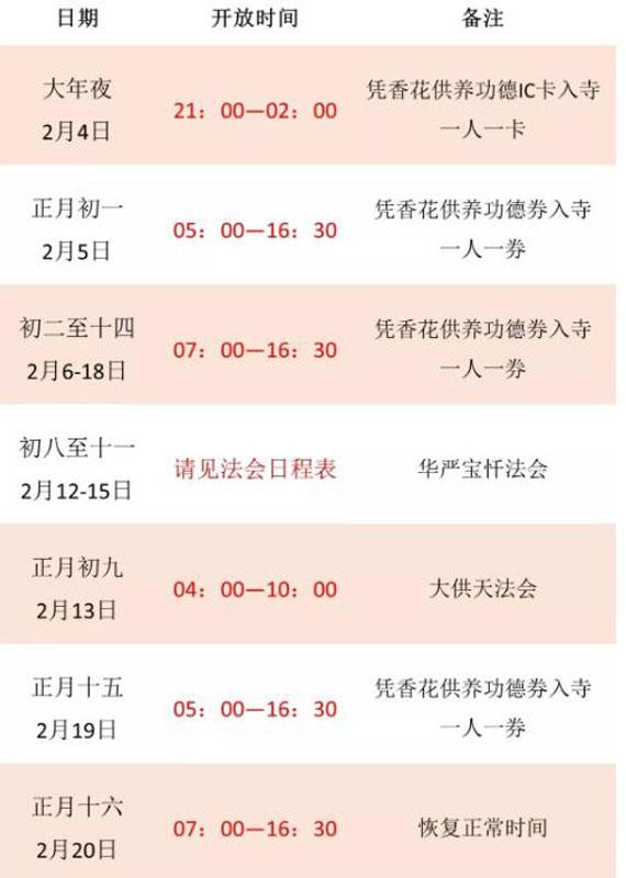 2019上海龙华寺除夕祈福活动安排