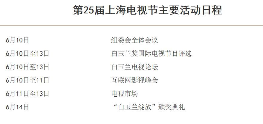 2019上海电视节时间 颁奖典礼 日程安排