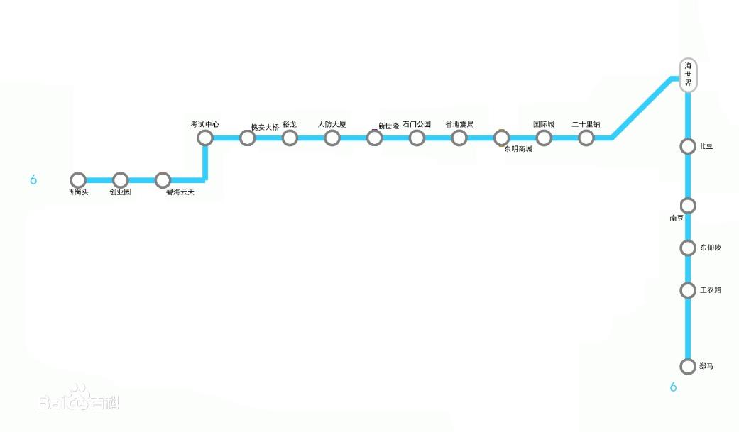 石家庄地铁6号线站点顺序及位置分布
