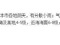 2月23日惠州天气  有小到中雨和轻雾