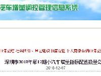 深圳2018年12期车牌摇号竞价指标数量一