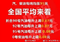 2017年9月15日24时起油价第7次上调 每升上涨7分(图)