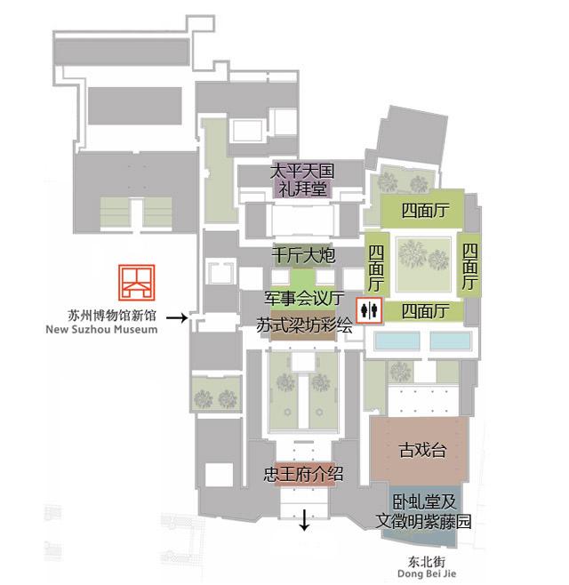 苏州博物馆馆区导览图一览