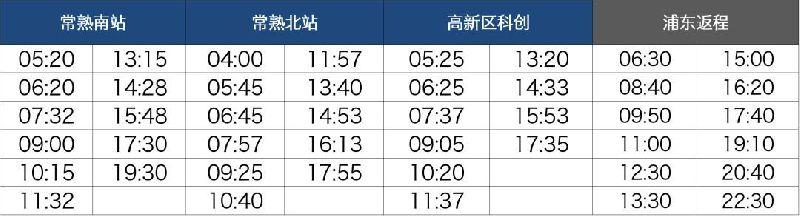 2018常熟机场大巴时刻表(时间 上车地点)
