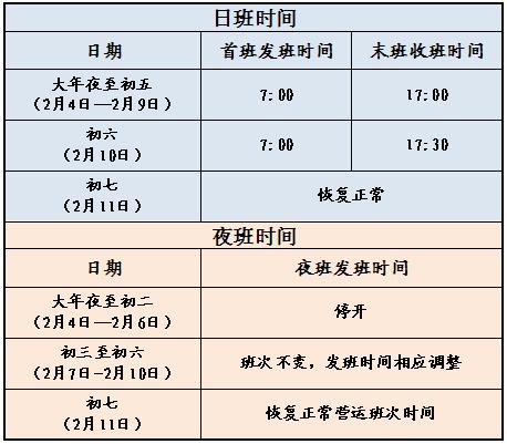 2019春节期间张家港公交运营时间表