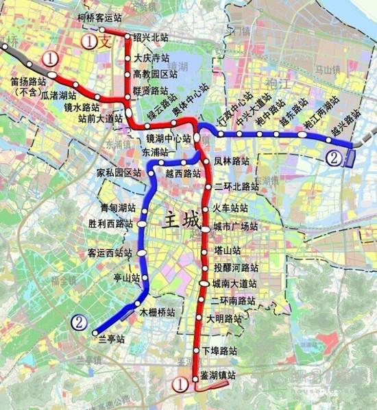绍兴地铁近期建布局(站点+规划图)