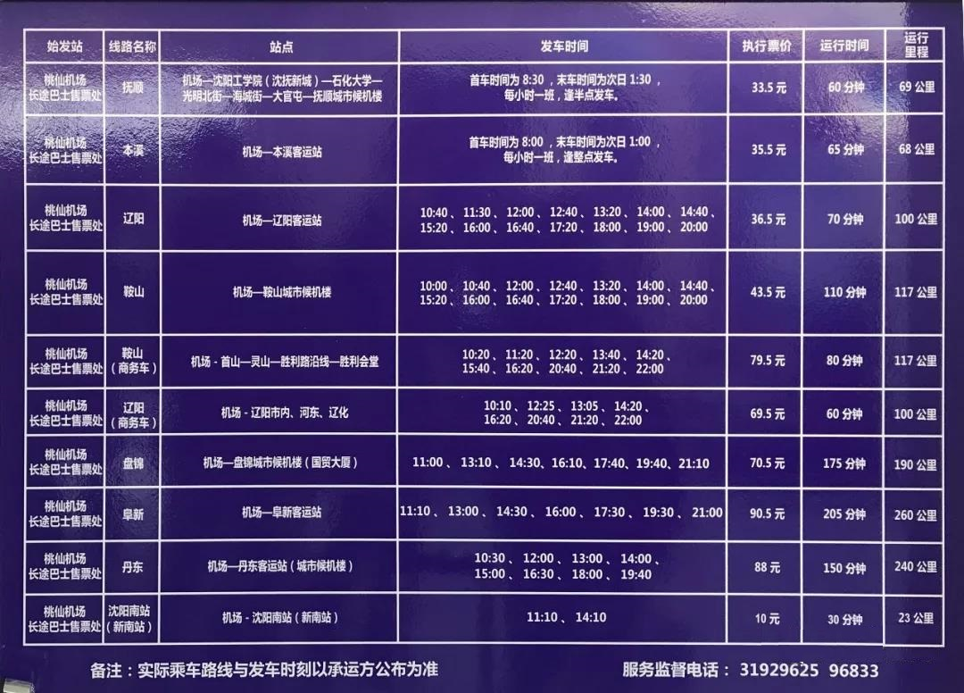 沈阳机场到周边各市机场大巴时刻表