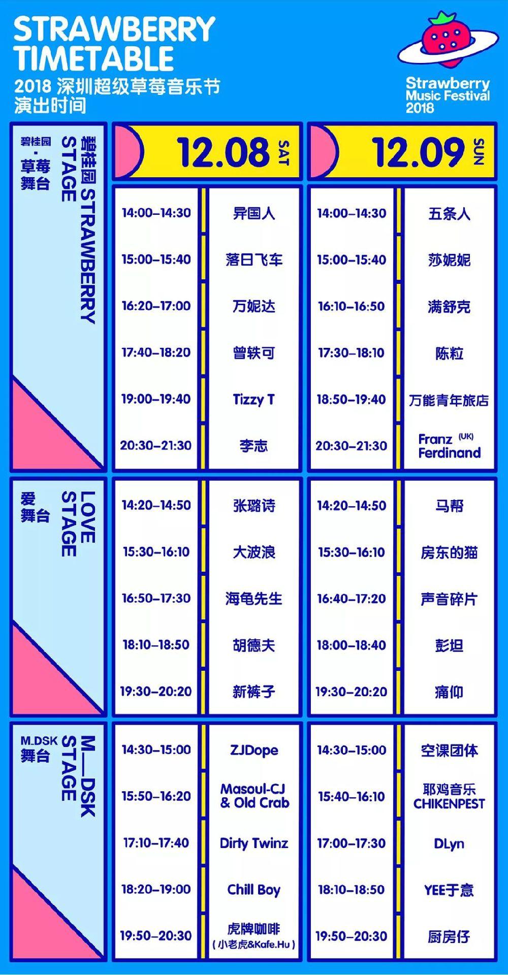 深圳草莓音乐节2018时间表