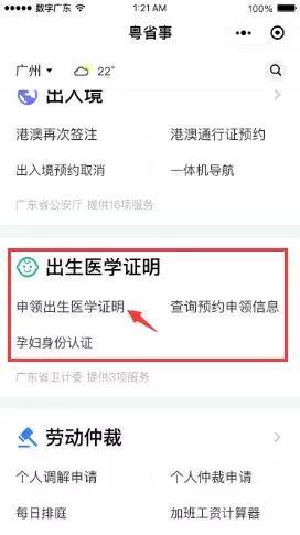 在广东出生的孩子可办理电子出生证