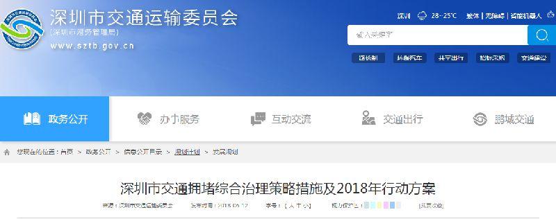 深圳交通拥堵治理方案出炉 11条道路将限时停车