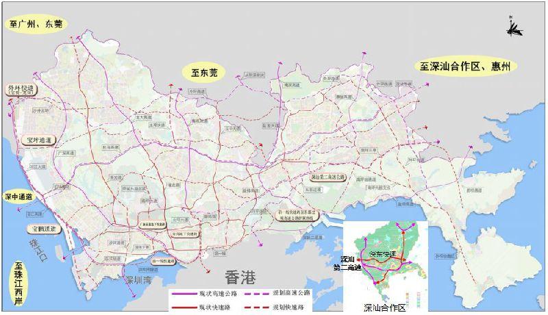 """深圳高快速路网优化规划发布 布局""""十横十三纵""""高快速路"""