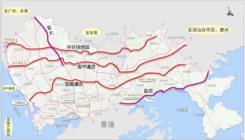 深圳拟新建宝鹏通道(双层规划 出入口 线路图 进展)