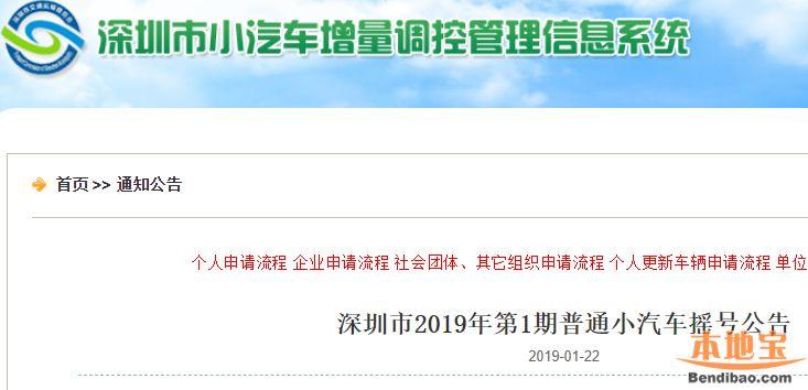2019年第1期深圳车牌摇号指南(时间+数量+结果查询)