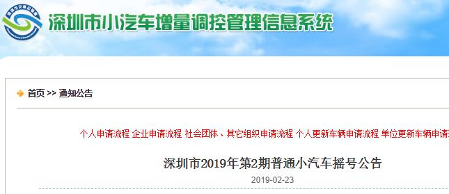 深圳2019年第2期车牌摇号指南(时间+数量+结果查询)