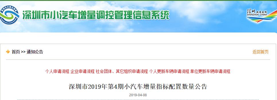 2019年第4期深圳车牌摇号竞价指标数量一览 附3月结果