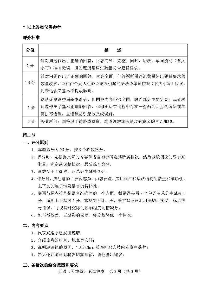 2018天津高考英语答案