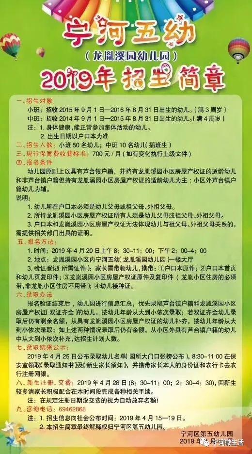 2019宁河区幼儿园招生简章(报名时间 条件 材料 流程)