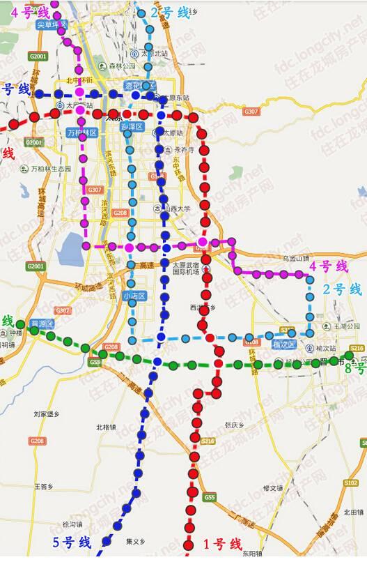 太原地铁1 5号线规划图 新增8号线