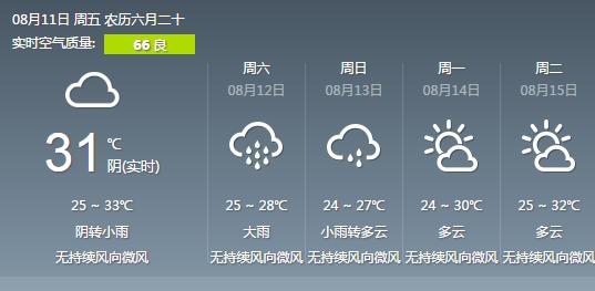 武汉将迎中到大雨 双休日有望降温