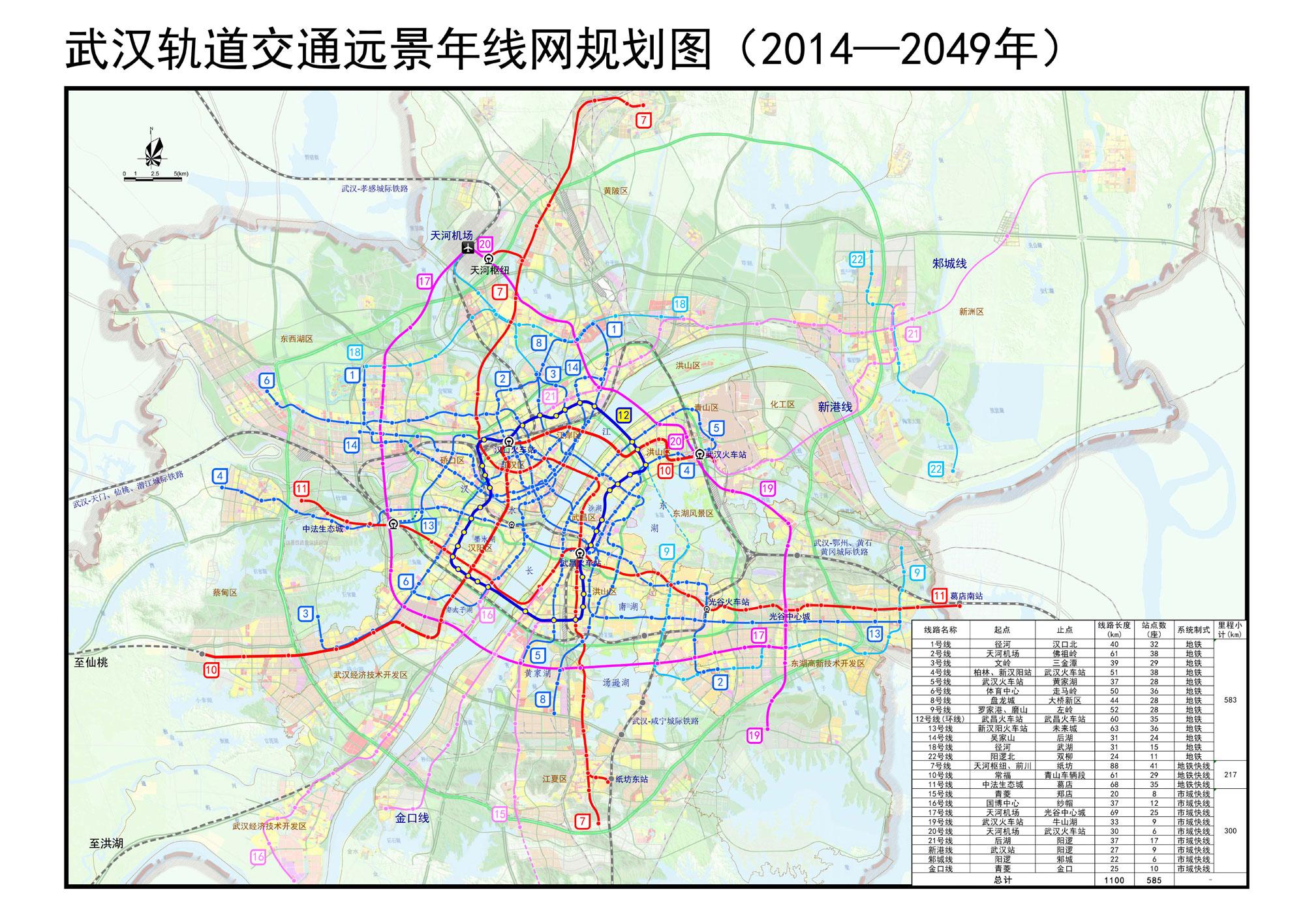 武汉地铁规划高清图(2014-2049)