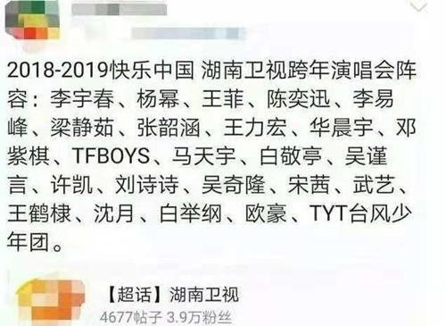 2018-2019湖南卫视跨年演唱会嘉宾详情及节目单