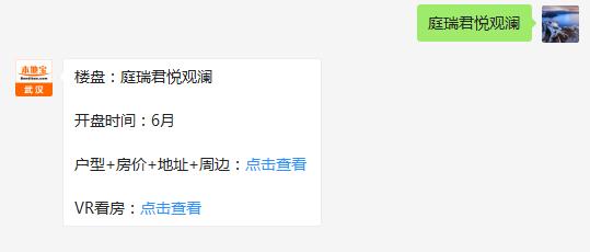武汉庭瑞君悦观澜(房价+地址+开盘时间+户型图)