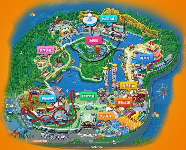 2018武汉欢乐谷地图以及主题乐园图片