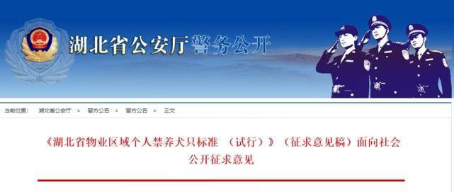 湖北省物业区域个人禁养犬只标准征求意见