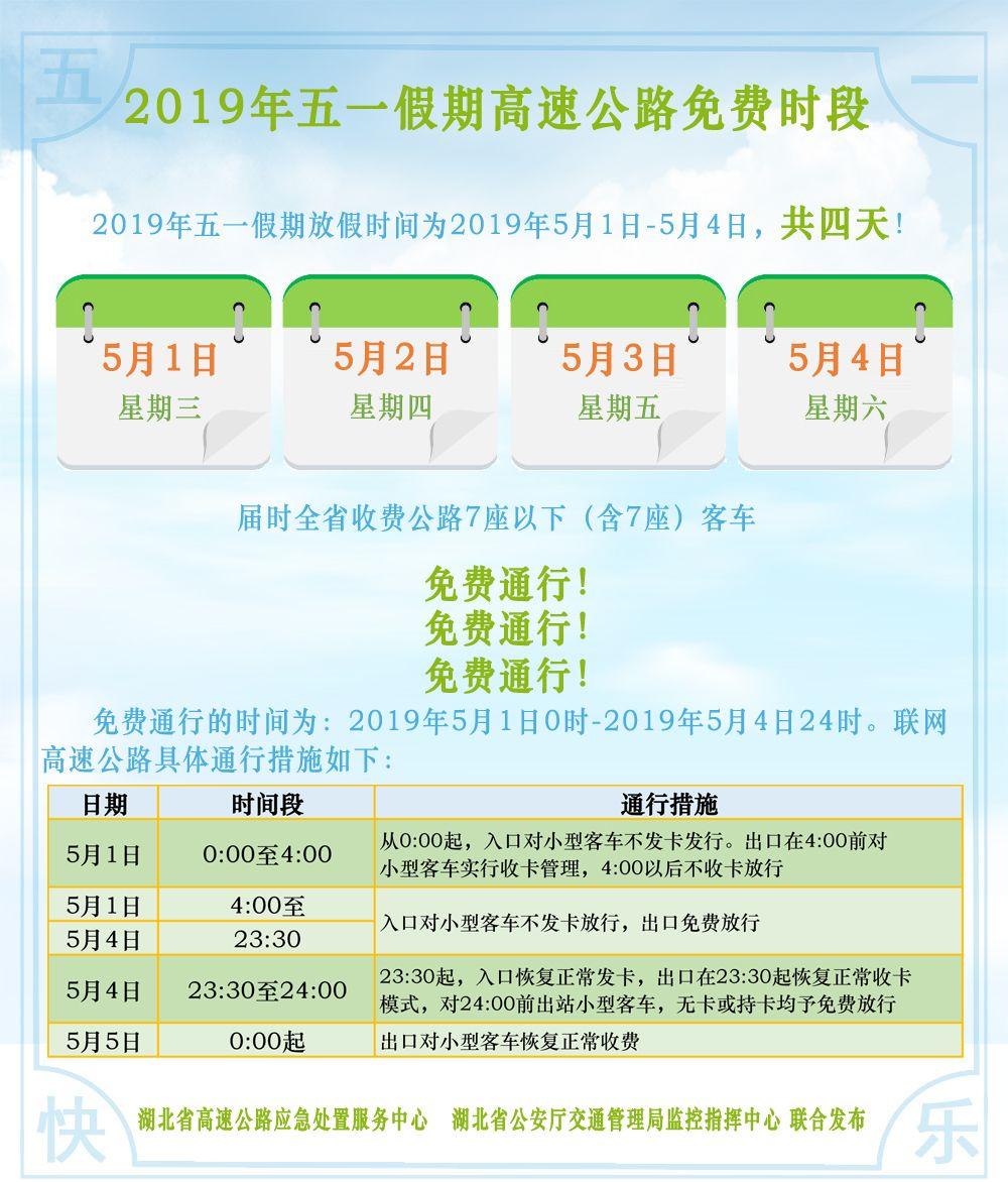2019武汉五一高速免费吗
