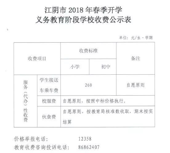 2018江阴春季学期学费标准
