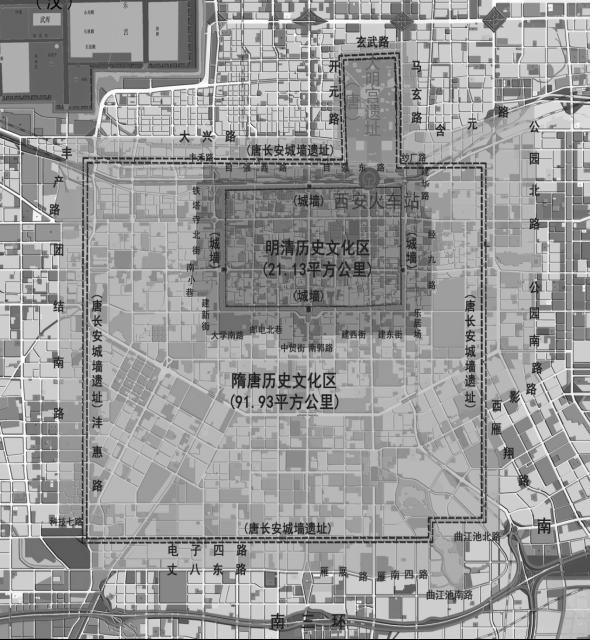 西安明清历史文化区及隋唐历史文化区管制范围